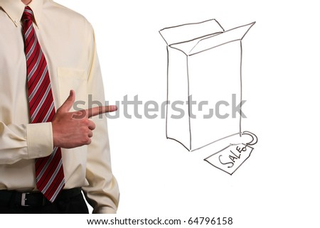 Man in a shirt and a tie pointing at a box with a sale tag. Add your text to the box. - stock photo