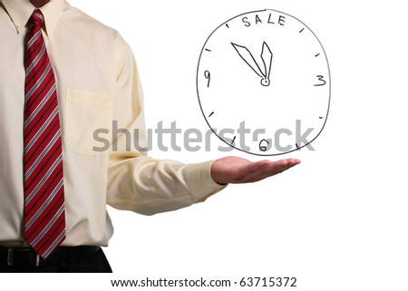 Man in a shirt and a tie showing a sale clock. Add your text to the clock.