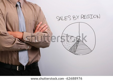 Man in a shirt and a tie standing next to a whiteboard with a drawing of a pie chart.