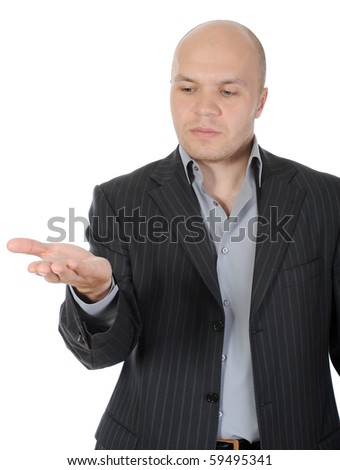 man in a suit holds her hand, palm up. Isolated on white background