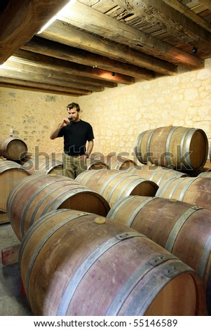 Man in a wine cellar