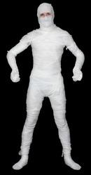 Man in bandage on the black background