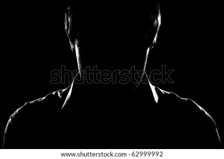 Man in black - stock photo