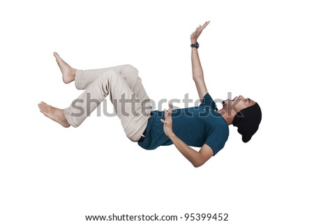 Man in blue shirt and jeans falling and screaming over white