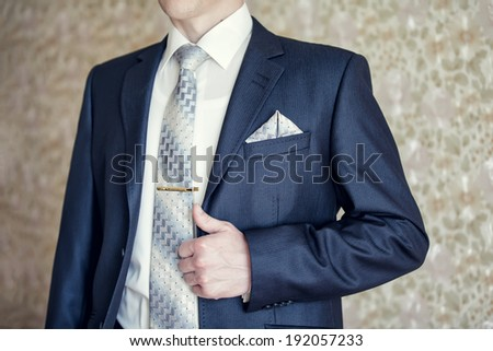 83d79e0a1cad Man in blue suit with tie, tie clip and handkerchief #192057233