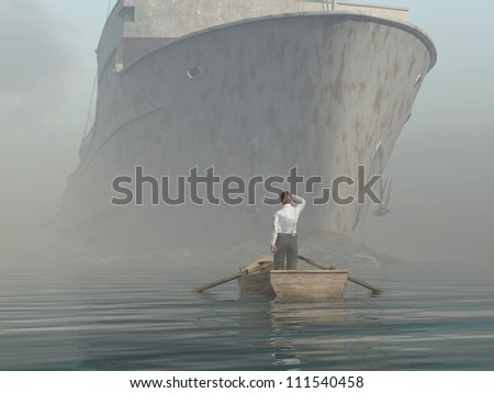 man in boat looking on approaching vessel - stock photo