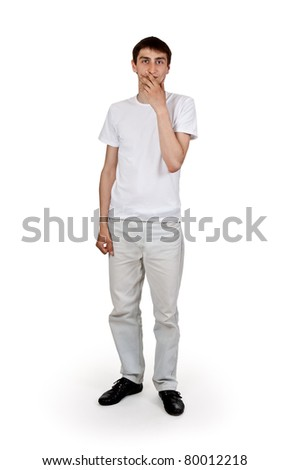 man in bright clothing isolated on a white background