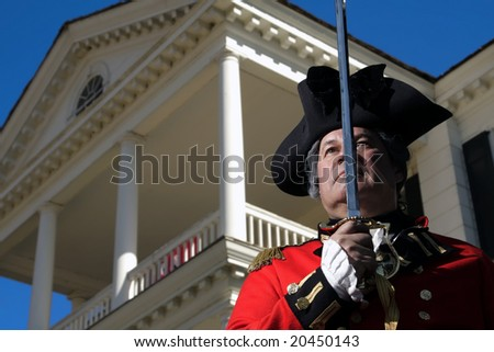 Man in British military dress at Revolutionary War Re-Enactment in Camden, South Carolina.