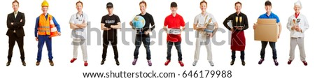 Man in career choice between different professions with different clothes