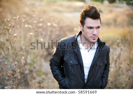 Man in country in summer day