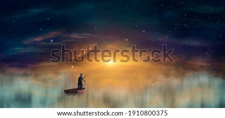 Man in cowl, magician floating on ship in clouds at sunset sky with stars. Digital painting, 3D rendering  Foto stock ©