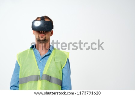 man in 3D glasses virtual reality  free place                          #1173791620