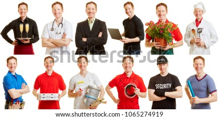 Man in different professions and positions as a career choice concept #1065274919