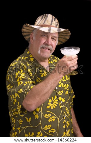 Man in floral shirt Hawaiian shirt, with a fu manchu mustache, safari hat and Margarita doing a Jimmy Buffet impersonation - stock photo