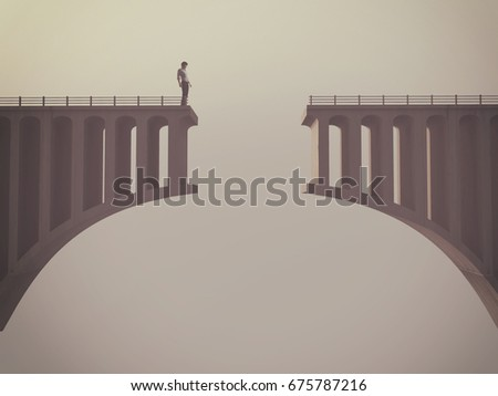 Man in front of a broken bridge. This is a 3d render illustration