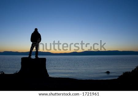man in front of Lake Tahoe