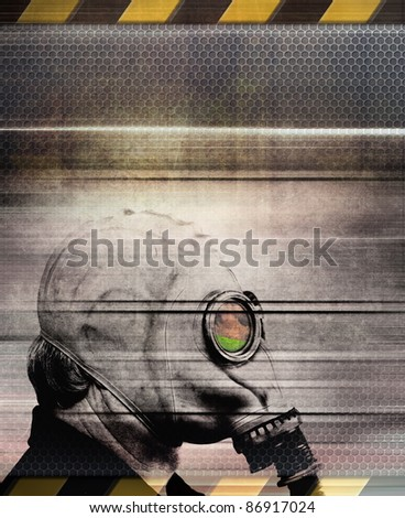 Man in gas mask, abstract grunge illustration