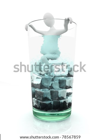 Man in glass full of ice