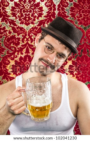 stock photo man in glasses mustache hat wife beater drinking at vintage bar red gold background smiling adult 102041230 stock photo : Man in glasses mustache hat wife beater drinking at vintage ...