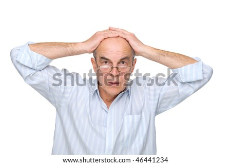man in glasses to hold on to his head on a white background