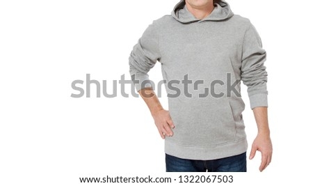 Man in gray sweatshirt template isolated. Male sweatshirts set with mockup and copy space. Hoody design. Hoodie front cropped image view. Closeup