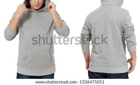 Man in gray sweatshirt template isolated. Male sweatshirts set with mockup and copy space. Hoody design. Hoodie front and back view. Closeup