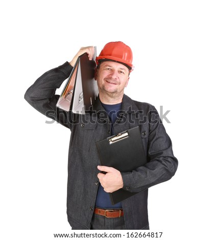 Man in hard hat holding folders. Isolated on a white background.