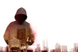 Man in hoodie shirt is hacker. Computer security concept