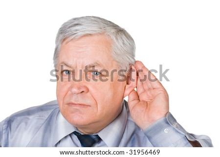 Man in listening pose isolated on white background
