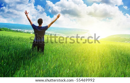 Man in meadow green meadow. Emotional scene. #55469992