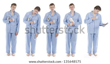 Man in pajamas with newspaper set of different positions