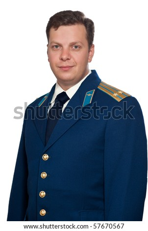 Man  in parade uniform of russian military air forces.  Isolated on white background.
