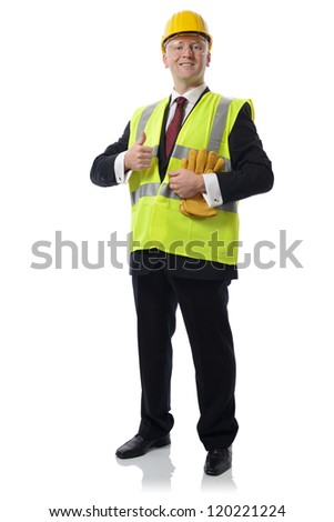 man in PPE Concept for using safety equipment isolated on white
