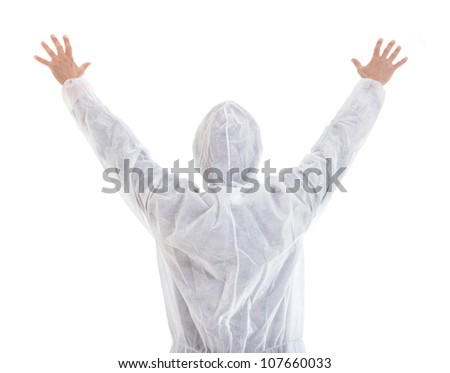"""Man in protective clothes with spread hands expressing """"Stop"""" isolated on white background"""
