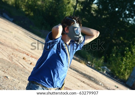 Man in protective gas mask