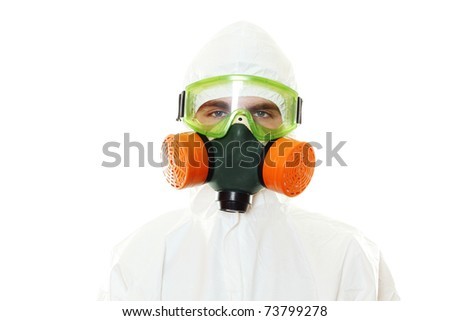 Man in protective suit, a mask and a respirator. Isolated on white