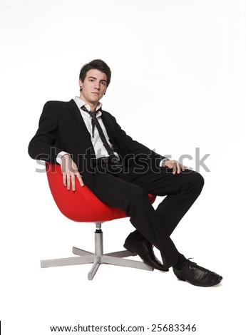 Man in red armchair