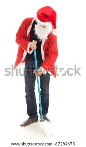 man in red Santa clothes with mop