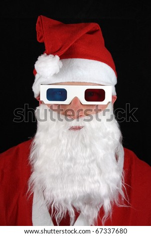 man in santa suit wearing 3d glasses