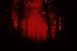 man in scary forest, dark horror landscape, halloween background