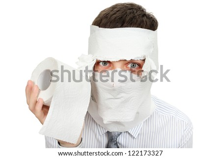 Man in shirt and necktie with Toilet Paper. Isolated on the White Background