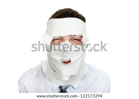 Man in shirt and necktie wrapped his face in a paper. Isolated on the White Background