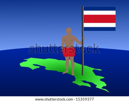 man in shorts standing on map of Costa Rica with flag JPG