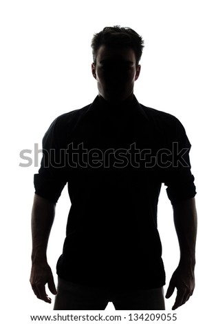 Man in silhouette isolated on white background #134209055