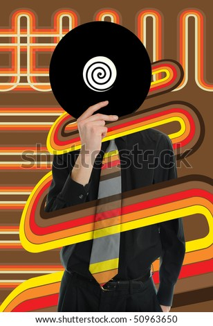 Man in suit and tie holds up a vinyl LP Record to his head with retro lines going around him