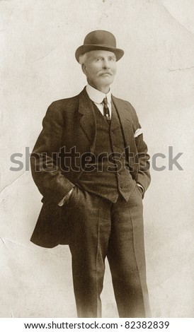 Man in Suit & Bowler Hat, noise added