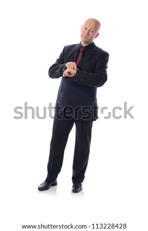 Man in suit concept of deadline isolated on white background