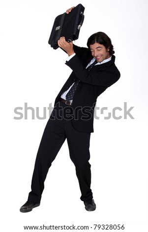 man in suit dodging attack