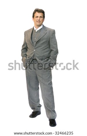 man in suit posing over white background