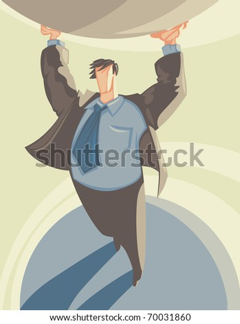 Man in suit supporting globe like Atlas. Raster version. Vector version is also available.